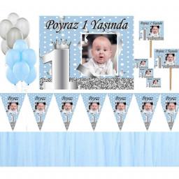 1 Yaş Afişli Erkek Kişiye Özel Doğum Günü Seti Gümüş