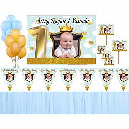 1 Yaş Altın Doğum Günü Süsleri Fotoğraflı Süsleme ve Magnet  Seti