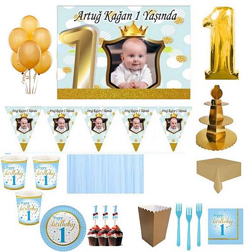 1 Yaş Altın Doğum Günü Süsleri, Parti Seti, Malzemeler, Fotoğraflı Küçük Yıldızlar 8 Kişilik Mavi Full Set