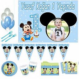 1 Yaş Doğum Günü Süsleri, Afişli İlk Yaşım Baby Mickey Doğum Günü Süsleri Parti Malzemeleri