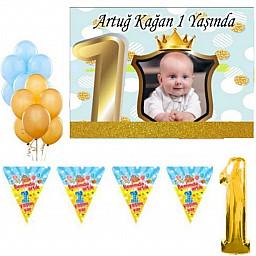 1 Yaş Doğum Günü Süsü, Süsleri Fotoğraflı Afiş Kişiye Özel Parti Seti Altın