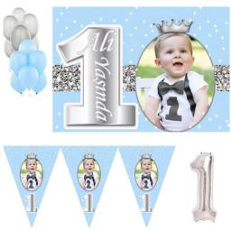 1 Yaş Fotoğraflı Gümüş Taçlı Doğum Günü Süsleme Seti