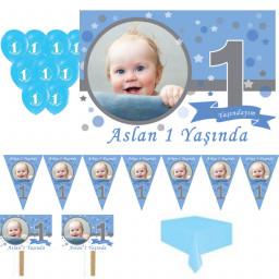 1 Yaş Pırıltı First Birthday Doğum Günü Süsleri, Parti Setleri Erkek Kişiye Özel Süsleme Set