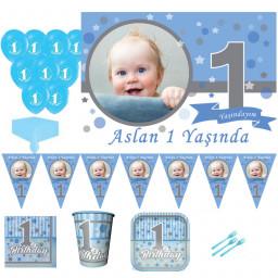 1 Yaş Pırıltılı Temalı 8 Kişilik First Birthday Kız Parti Seti, 1 Yaş Doğum Günü Süsleri, Erkek Çocuk