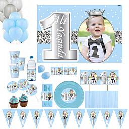 10 Kişilik Fotoğraflı 1 Yaş Gümüş Full Kişiye Özel Doğum Günü Süsleme ve Sofra Seti, Parti Seti Prens Konsept