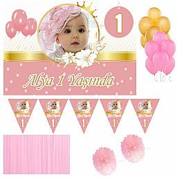 1 Yaş Afişli Kız Çocuk Kişiye Özel Doğum Günü Süsleme Seti Altın HDTS113