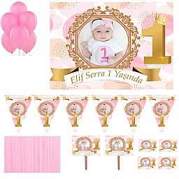 1 Yaş Altın Doğum Günü Süsleri Fotoğraflı Süsleme ve Magnet  Seti Kız Bebek HDTS142