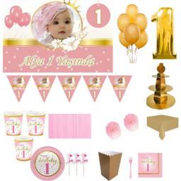 1 Yaş Altın Doğum Günü Süsleri, Parti Seti, Malzemeler, Fotoğraflı Altın Konsept Küçük Yıldızlar 8 Kişilik Pembe Full Set