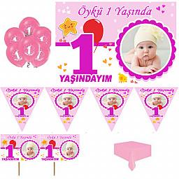 1 Yaş Doğum Günü Süsleri, 1 Yaş Parti Setleri, Fotoğraflı Afişli Hediyeli