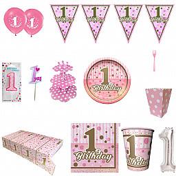 8 Kişilik 1 Yaş  Full Doğum Günü Süsleri, İlk Yaşım Pırıltı Doğum Günü Sofra Seti