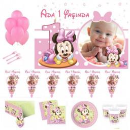 Baby Minnie Doğum Günü Süsleri, 1 Yaş Doğum Günü Süsleri ve Setleri, Parti Malzemeleri