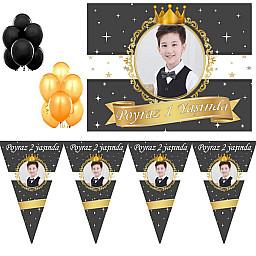 Siyah Beyaz Dore gold 1 Yaş Doğum Günü Süsleri, Süsleme Seti HDT203 Erkek