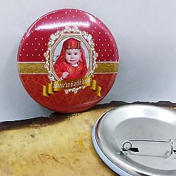 6 Ay Kınası Partisi Rozeti Resimli Metal 6 cm İğneli Yaka Rozeti