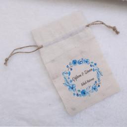 Amerikan Bezi Kumaş Keten Kese 9x13 cm Mavi Çiçekli