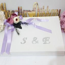 72 li Karton Kutu Söz Nişan Çikolatası Üstü Çiçek ve İsimlikli