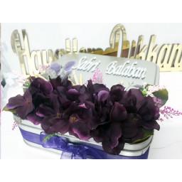 Mor Çiçek Süslü Pleksi İsimli Söz Nişan Çikolatası 50 li