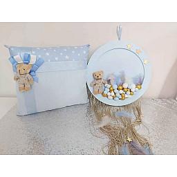 2 Li Bebek Odası Kapıs Süsü Ahşap ve Yastık Set Mavi