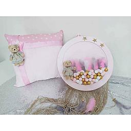 2 Li Bebek Odası Kapıs Süsü ve Yastık Set Pembe