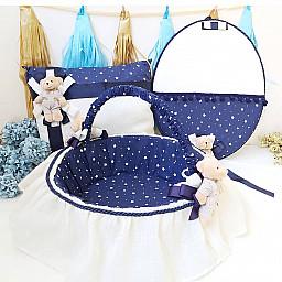 3  lü Set Erkek Bebek Lacivert Ayıcıklı Kapı Süsü Yastık Sepet Bebek Süsleri
