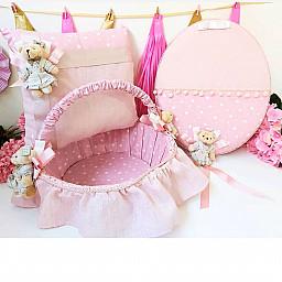 3  lü Set Kız Bebek Pembe Yıldız Kumaşlı Ayıcıklı Kapı Süsü Yastık Sepet Bebek Süsleri Dev Kampanya Lüks Set
