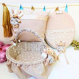 3  lü Set Kız Bebek Sütlü Kahve Yıldız Kumaşlı Ayıcıklı Kapı Süsü Yastık Sepet Bebek Süsleri Dev Kampanya Lüks Set