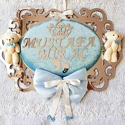 Ahşap Özel Kesim Ayıcıklı Model Erkek Bebek Kapı Süsü
