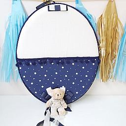 Ayıcıklı Lacivert Yıldız Kumaşlı Bebek Odası Kapı Süsü Lüks
