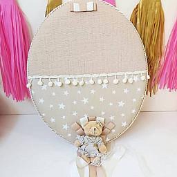 Ayicikli Sütlü Kahve Yıldız Kumaşlı Dev Kapmanya Lük Kız Bebek Odası Kapı Süsü