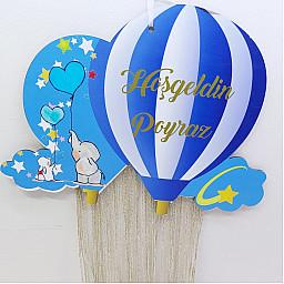 Ahşap Bebek Kapı Süsü Balon Tasarımlı Uv Baskılı