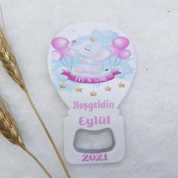 Fil Baskılı Balon Açacak Magnet 11x7 Cm Uv  Bebek Magnetleri Bebek Şekeri