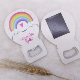 Gökkuşağı Baskılı Kız Bebek Balon Açacak Magnet 11x7 Cm Uv  Bebek Magnetleri