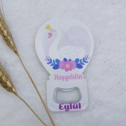 Kuğu Baskılı Balon Açacak Magnet 11x7 Cm Uv  Bebek Magnetleri Bebek Şekeri