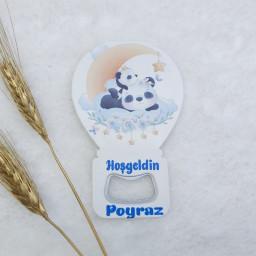 Panda Baskılı Balon Açacak Magnet 11x7 Cm Uv  Bebek Magnetleri Bebek Şekeri