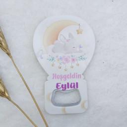 Tavşan Baskılı Balon Açacak Magnet 11x7 Cm Uv  Bebek Magnetleri Bebek Şekeri