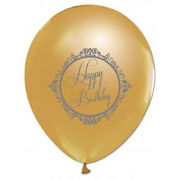 Balon 1+1 Silver Happy Birthday Gold 10 adet