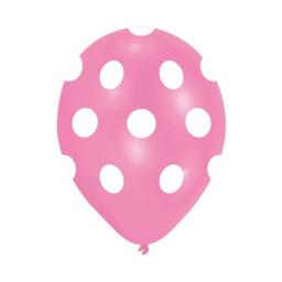 10 Lu Balon Beyaz Puantiyeli Pembe