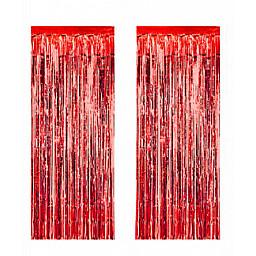Doğum Günü Süsleri Metalize fon süsü asmalı 50x230 cm kırmızı pk:2 li set