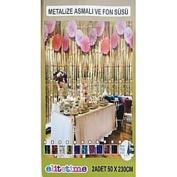 Doğum Günü Süsleri Metalize fon süsü asmalı 50x230 cm pembe pk:2 li set