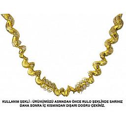 Süs fransen metalize uzarlı 2mt altın