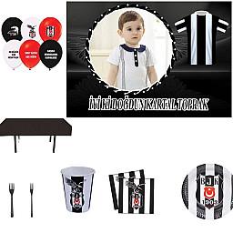 Afiş Hediyeli Beşiktaş Doğum Günü Parti Seti HDTS125 8 Kişilik