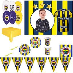 Afiş Hediyeli Fenerbahçe Doğum Günü Süsleri Parti Seti 8 Kişilik Parti Malzemeleri