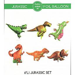 Dinazorlar Jurassic Folyo Balon Set 6'Lı 20Cm