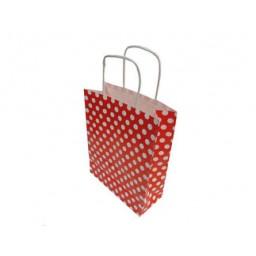 Çanta kraft küçük boy kırmızı puantiy 19x24 p25