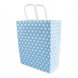 Çanta kraft küçük boy mavi puantiye 19x24 p25
