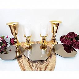 3 Adet  Petek Model Jardinyer ve 2 adet Şamdan 2 Adet Kısa Vazo Masa Üstü Söz Nişan Seti