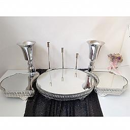 3 lü Oval Aynalı Jardinyer 3 Mumluk Set ve 2 Vazo Masa Üstü Söz Nişan Seti