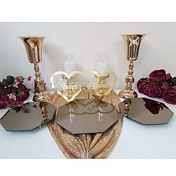 3 Lü  Petek Jardinyer, 2 adet şamdan, 2 adet vazo ve masa üstü isimlik Masa Üstü Söz Nişan Seti