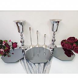 3 lü Petek Jardinyer 3 Mumluk Set ve 2 Vazo Masa Üstü Söz Nişan Seti Lüks Set