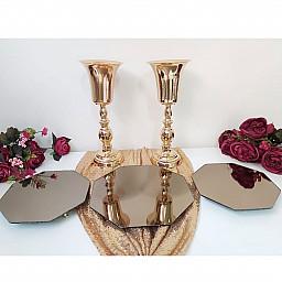 3 lü Petek Jardinyer Aynalı  ve  2 Vazo Masa Üstü Söz Nişan Seti