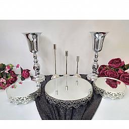 3 lü Saçaklı Jardinyer 3 Mumluk Set ve 2 Vazo Masa Üstü Söz Nişan Seti